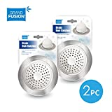 Shower & Bathtub Drain Hair Catcher 2 Pack Set, Soft Silicone Dome Prevents Hair from Clogging Tub and Shower Drains. Stainless Steel Accents