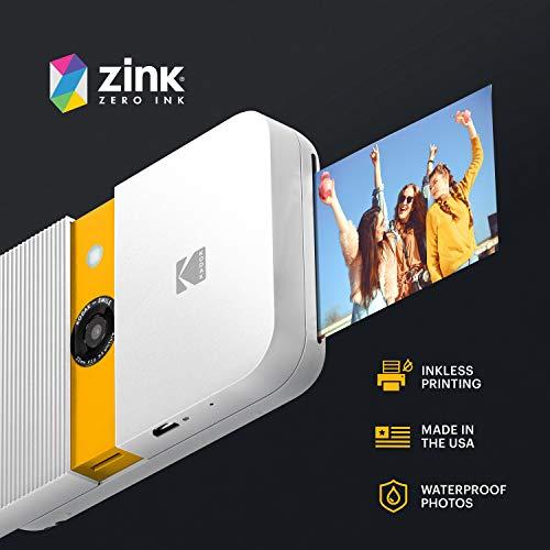 KODAK Smile Instant Print Digital Camera – Slide-Open 10MP Camera w/2x3 ZINK Printer (White/ Yellow)