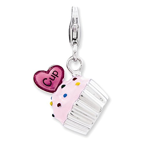 Sterling Silver Enameled 3-D Cupcake and Heart w/Lobster Clasp Charm (Cupcake Italian Charm)