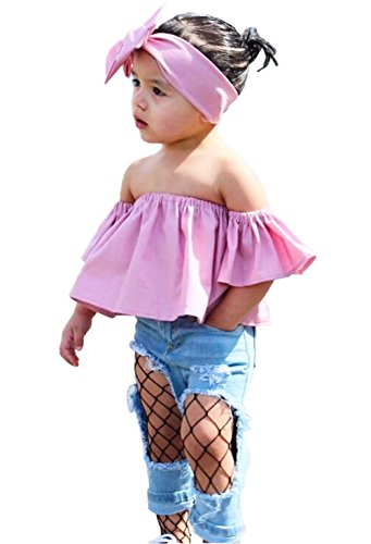 cute-baby-girls-solid-off-shoulder-elastic-fashion-blouse-bow-headband-2pcs-100cm-3-4t-pink