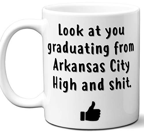Arkansas City High Graduation Gift. Cocoa, Coffee Mug Cup. Student High School Grad Idea Teen Graduates Boys Girls Him Her Class. Funny Congratulations. 11 oz. -