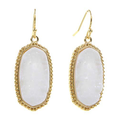 - YUJIAXU Hexagon Design Faux Druzy Oval Stone Drop Dangle Earrings Girl's Women's Unique Christmas Gift (White)