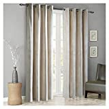 SINGINGLORY Velvet Curtains 2 Panels Set, Blackout Thermal Insulated Velour Grommet Drapes with 2 Tiebacks for Bedroom and Living Room (52 x 84 inch, Ivory Beige)