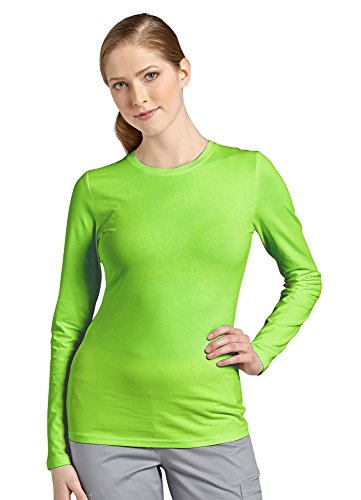 Allure by White Cross Women's Long Sleeve Crew Neck Solid Stretch T-Shirt Large Green Apples