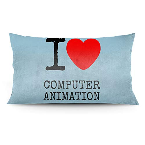 Jess Decor Pillow Cases, I Love Computer Animation King Pillow Covers, Cushion Cover Zippered Throw Pillowcase 20x36 Inches