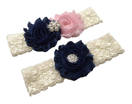 (Daddasprincess Wedding Garter Ivory Bridal Lace Plus Size Garter Something Blue (L:22-26 inches, Navy and Blush))