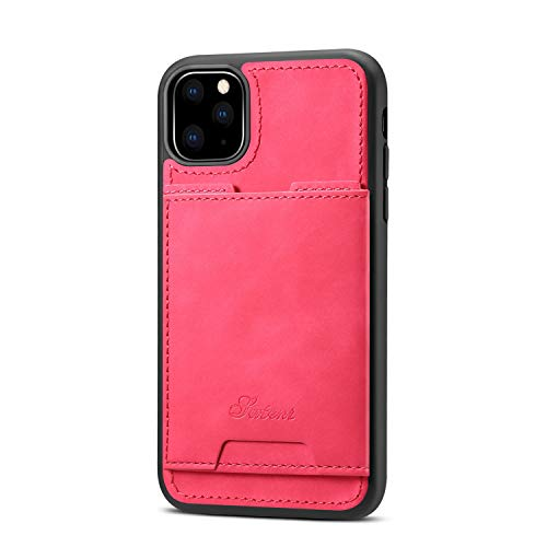 Lightweight Case for Apple iPhone 11 Pro Max 6.5 inches,Slim Soft Pu Card Slot Kickstand Protective Shock Absorption Thin Simple Cover Women Girl Shell