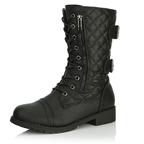 DailyShoes Women's Military Lace Up Buckle Combat Boots Mid Knee High Exclusive Quilted Credit Card Pocket, Quilted Black Pu, 6 B(M) US]()