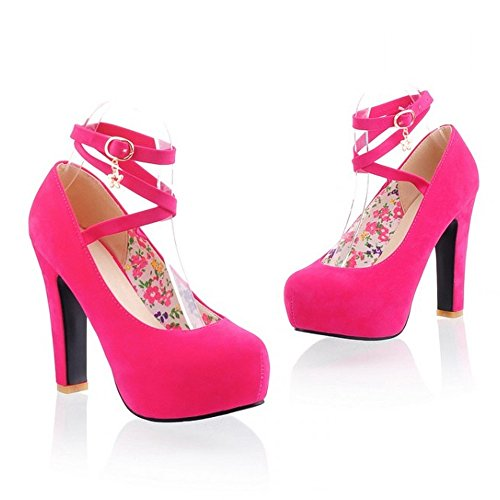 Buckle Women High Fashion LongFengMa Thick Shoes Platform Lady Red Sexy Heel Pumps IqRww6WX