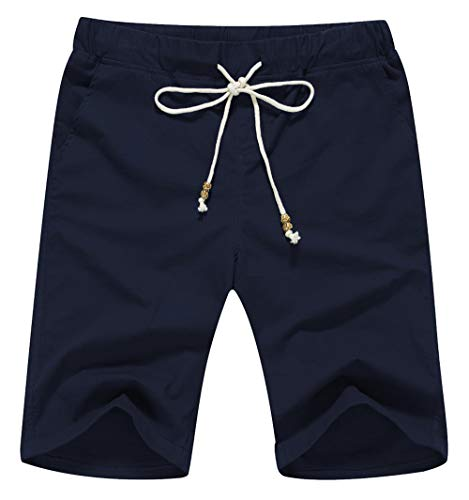 Boisouey Men's Linen Casual Classic Fit Short Navy Blue ()