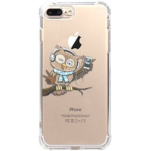 Owl Rubber (iPhone 7 Plus Case, iPhone 8 Plus Case, JAHOLAN Amusing Whimsical Design Clear TPU Soft Case Rubber Silicone Skin Cover for Apple iPhone 7 Plus/iPhone 8 Plus - Cute Owl Music)