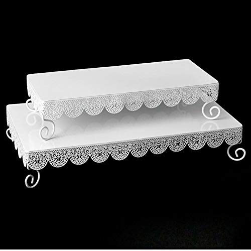 Afloral Set of 2 White Metal Rectangle Eyelet Cake Stands - 14.5-17.5