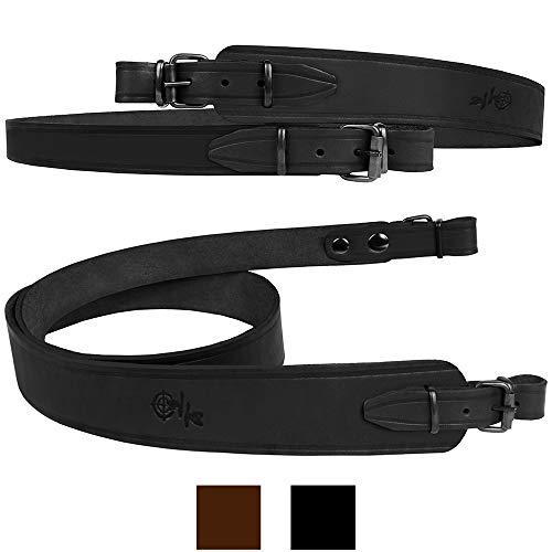 BronzeDog Leather Rifle Sling Shotgun Strap Durable Belt Hunting Accessories (Black) (Best Shotgun Sling Hunting)