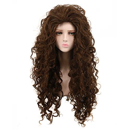 Yuehong Cosplay Wigs fashion Style Fluffy Wavy Curly Brown Wig Synthetic Halloween Costumes Wig Hair -