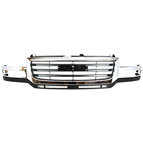 Grille for GMC Sierra 2500 HD/3500 03-07 Chrome Shell/Painted-Black Insert Fits 2007 Classic