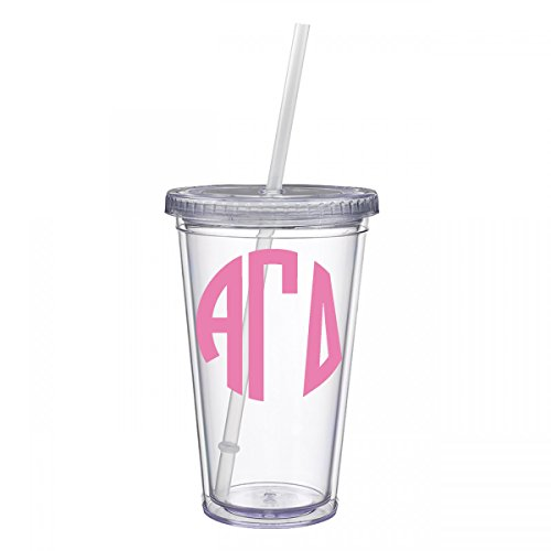 Alpha Gamma Delta Sorority Pink No Border Monogram Sticker Decal on Clear plastic Tumbler Greek Letter 16 oz. BPA Free Alpha (Stained Glass Name Tags)