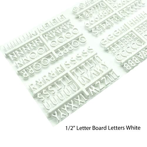 Plastic Letters for Letter Board Supplement. Letter Board Letters, Set of 188 Characters Including Numbers, Symbols for Plastic and Felt Letter Boards Accessories (White 1/2