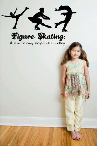 Design with Vinyl Gabby 1-219 Decor Item Figure Skating If it Were Easy They'd Call it Hockey Ice Skating Kids Teen Sports Hobby Home Decor, 8-Inch x 20-Inch, Black DesignwithVinyl - CA