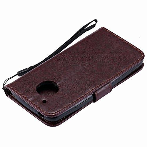 Yiizy Motorola Moto G5 Custodia Cover, Alberi Disegno Design Premium PU Leather Slim Flip Wallet Cover Bumper Protective Shell Pouch with Media Kickstand Card Slots (Marrone)
