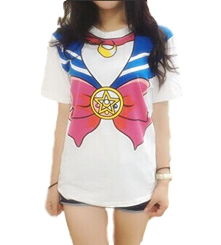 GK-O Japanese Anime Sailor Moon Style T-Shirt Harajuku Kawaii Cosplay Costume (Large, Blue)