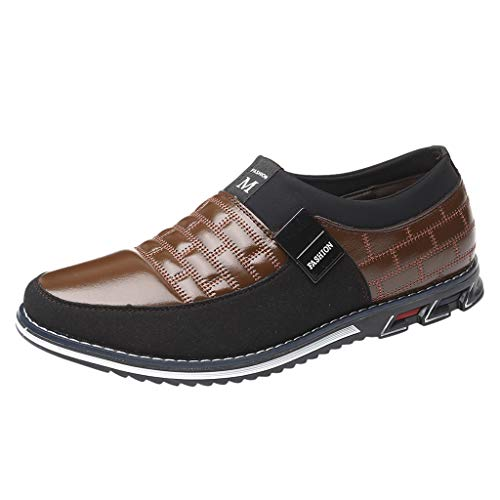 〓COOlCCI〓Oxford for Men,Prince Classic Modern Formal Oxford Wingtip Lace Up Dress Shoes Loafers & Slip-Ons for Bsiness Flat Brown (Furniture Maui Stores)