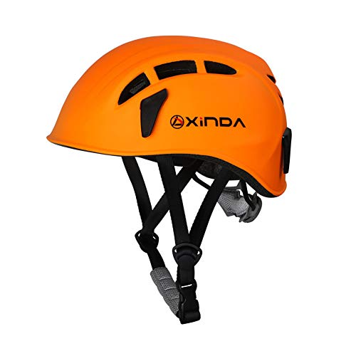 dezirZJjx Safety Helmet, Half Dome Climbing Helmet, Hiking Climbing Caving Work Helmet for Outdoor Rock Climbing Mountaineering Expanding Aerial Work Rescue Orange