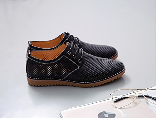 Casual Men's up Oxfords Black ChicWind Dress Brown Lace Breathable Shoes Shoes Leather p1xUYq