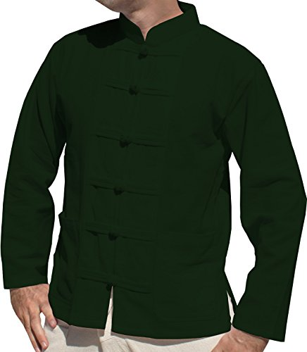 - RaanPahMuang Thick Muang Cotton Frog Button Chinese Jacket Shirt Plus, XXX-Large, Olive Drab Green