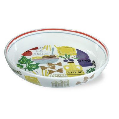 Oven Italian Meatballs - Boston International Antipasto Pattern Ceramic Pasta Bowl, 13