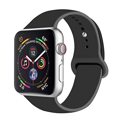 Compatible with Apple Watch 44mm & 42mm Sport Band Black L/XL,Fotbor Soft Silicone Strap Replacement Wristbands for iWatch Series 4/3/2/1