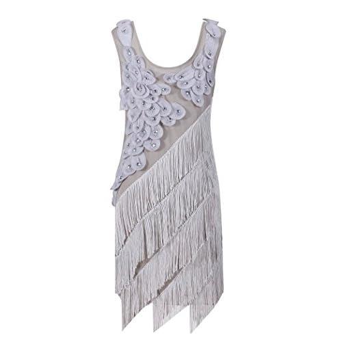 35e204f4e96 new Solatin Women s 1920s Beaded Fringe Scalloped Petal Plus Size Flapper  Dress