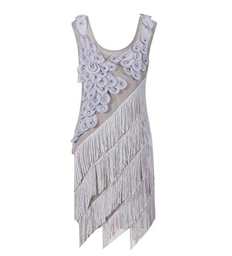 Solatin Women's 1920's Vintage Beads Sequin Crisscross Fringe Hem Flapper Dress Gray L