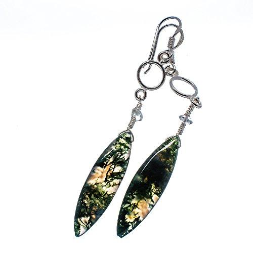 Green Moss Agate, White Quartz Earrings 3