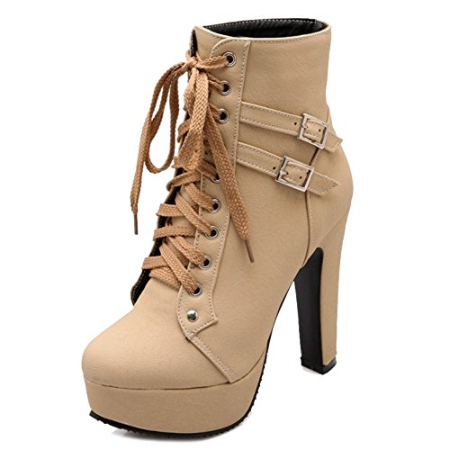 Women Boots Lace and Beige Boots Ankle Size SJJH with Large Heel High Fashion up and Sexy Platform Thick with UxzBnBO