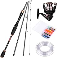 PLUSINNO Telescopic Fishing Rod and Reel Combos Full Kit, Spinning Fishing Gear Organizer Pole Sets with Line