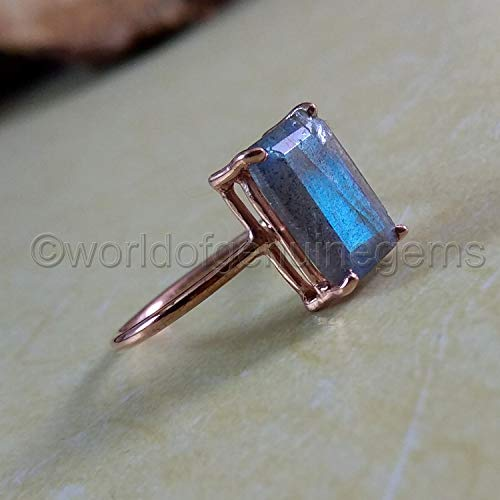 blue flash labradorite ring, 925 sterling silver, rose gold plating ring, four prong ring, labradorite woman ring, rectangle shape labradorite, anniversary gift jewelry, birthday gift for -