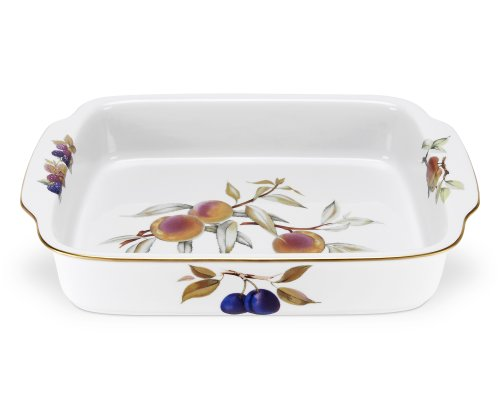 Royal Worcester Fine Porcelain - Royal Worcester Evesham Gold Porcelain Rectangular Handled Dish