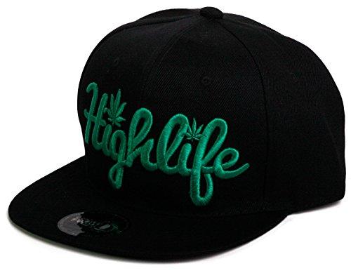 Weed-Marijuana-Leaf-Classic-Snapback-Flat-Visor-Hat-Cap-Includes-Free-Bandana-Highlife-Letters-One-Size-BlackBlack