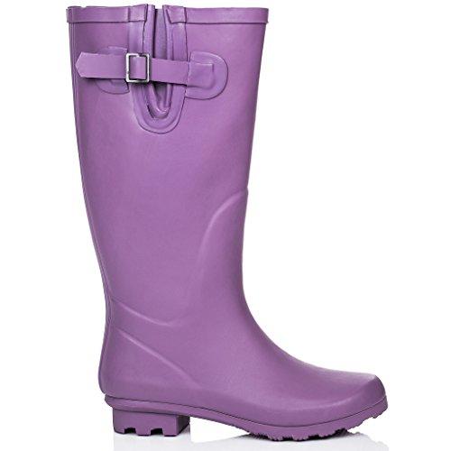 SPYLOVEBUY MEGAN Mujer Altas Planos Botas de Agua Púrpura - Goma