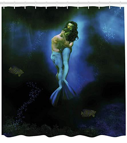 (Lohebhuic Mermaid and Man Embracing Under The Ocean Fantasy Illustration Print Atlantis Shower Curtain Cloth Fabric Bathroom Decor Set with Hooks,71.37