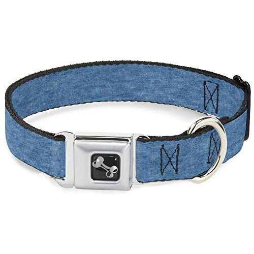 (Buckle Down Dog Collar Bone - Heather Blue - Wide-Medium 16-23