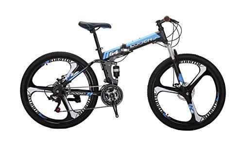LOOCHO 21 Speed Foldable Mountain Bike 26 Inches 3-Spoke Wheel Dual Suspension Dual Disc Brake MTB Tire Bicycle (Blue)