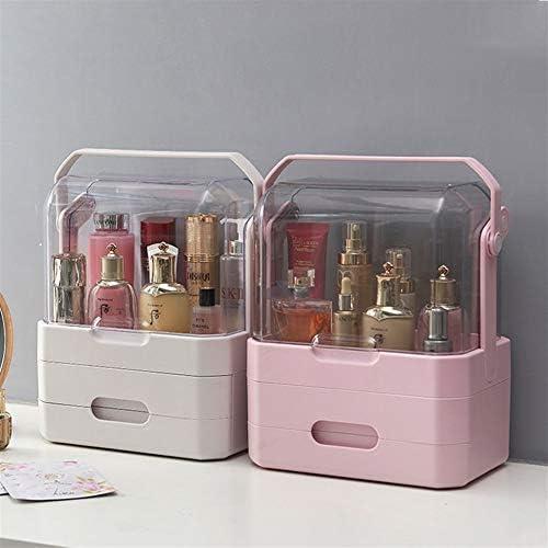 Hlake スクエア化粧品収納ボックス大容量デスクトップ仕上げラック防塵デスクトップホーム多機能ドレッシングテーブル口紅スキンケアラック (Color : White)