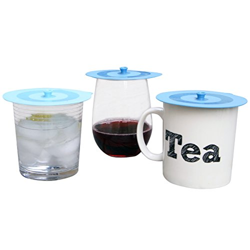 Top Quality Silicone Drink Covers by F.E.D. Best for Covering Wine Glasses & Cocktails, Steeping Tea, Keeping Coffee Warm. Airtight Eco Friendly Dish & Cup Cover Lids, Set of 4 (2 colours). ()
