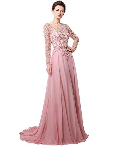 Langarm abendkleider rosa
