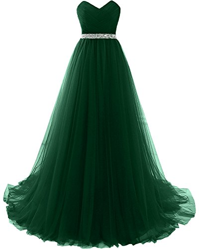 MILANO BRIDE Strapless Empire-Waist Long Prom Evening Dresses 2018 Affordable-4-Dark Green ()