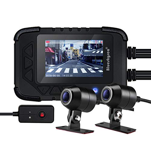 "Blueskysea DV688 Motorcycle Dash Cam 1080p Dual Lens Motorcycle Recording Camera 2.35"" LCD IP67 Waterproof Screen 130 Degree Angle Night Vision Latest Version"