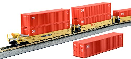 Double Stack Well Car (Kato USA Model Train Products N Gunderson MAXI-I Double Stack 5-Unit Well Car TTX New Logo #759300 Train)