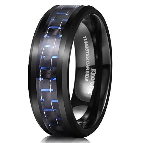 King Will GENTLEMAN Tungsten 8mm Black and Blue Carbon Fiber Inlay High Polish Men's Wedding Band Ring 8