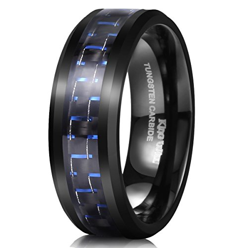 King Will Gentleman Mens 8mm Tungsten Ring Black and Blue Carbon Fiber Inlay High Polish Wedding Band Ring 10
